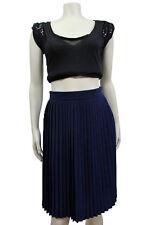 NWT American Apparel Navy pleated Chiffon Knee length Skirt $54 size L