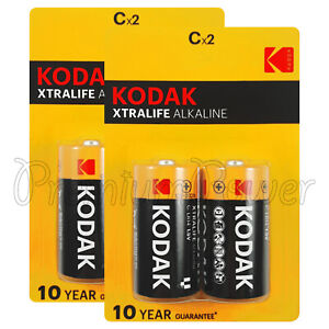 4 X Kodak C Size Batteries Alkaline 1 5v Xtralife Lr14 Mn1400 Baby