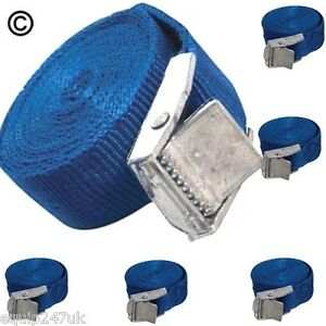 6-Blue-Cargo-Lash-Straps-Cam-Buckle-Tie-Down-Luggage-Quick-Release-25mm-x-2-5m