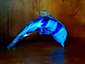 Vintage-MURANO-GLASS-Dolphin-Porpoise-OCEAN-BLUE-SWIRL-Paperweight-RARE-m17