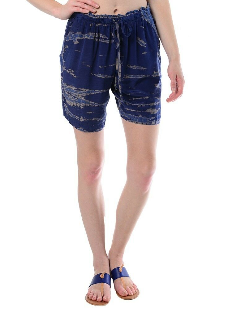 176 NWT GYPSY 05 WOMEN'S VENUS SILK BERMUDA SHORT in NAVY GHOST color sz.S
