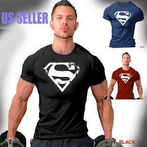 Men-039-s-Superman-Gym-Maillots-de-corps-t-shirt-Bodybuilding-Fitness-Sports-Entrainement-Vetements