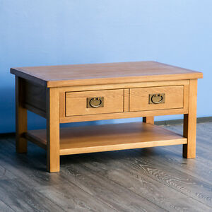 Details About Surrey Oak Coffee Table Solid Wood Lounge Table Coffee Table Drawer New