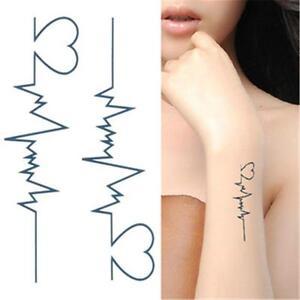 Caricamento dell\u0027immagine in corso 2015,Tatuaggio,Nero,Cuore,ECG ,Temporanei,Adesivo,Arte,