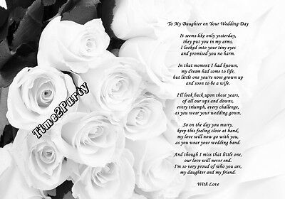 A4 Poem From Mum to Daughter on Her Wedding Day - Mother Daughter Unique Gift