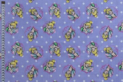 100/% algodón Tela de Disney Tinker Bell-Azul Tela de acolchar y artesanía