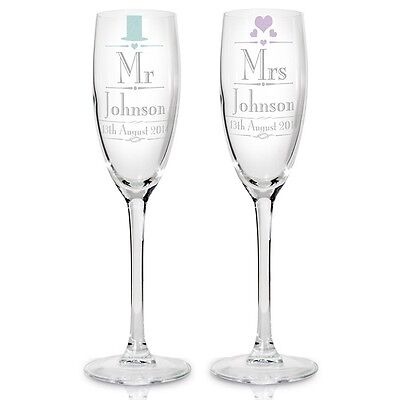 MR AND MRS Personalised Glass Champagne Flute Gift Set - Wedding Anniversary.