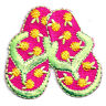 FLIP FLOPS PINK/LIME EMBROIDERED IRON ON APPLIQUE