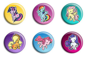 my little pony friendship is magic pin back button badge set of 6 ebay