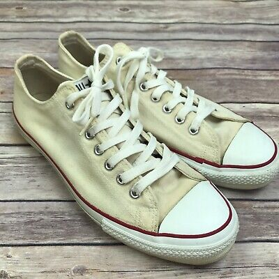 Vintage 1980s Off Bianco Basso Top All Star Converse Uomo 10 Chuck Taylor Made