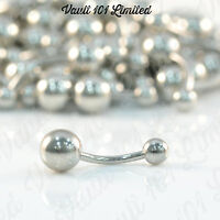 Surgical STEEL Belly Button Banana Bar Navel Ring Various Sizes