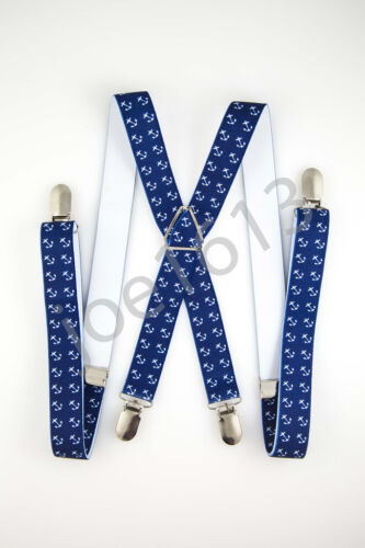 Blue With White Anchors Mens Adult Suspender Elastic X Back Adjustable SD56