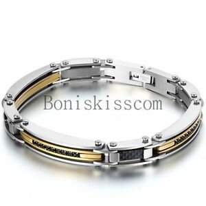 Silver-Gold-Two-Tone-Stainless-Steel-Men-039-s-Link-Bracelet-Wristband-Cuff-Bangle