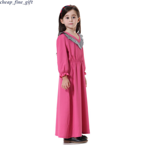 Islamic Girls Dress Ruffle Party Robe Muslim Kids Child Long Sleeve Prayer Abaya
