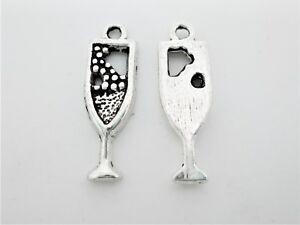 100 X Tibetan Silver Champagne WineGlass Charm Pendant.