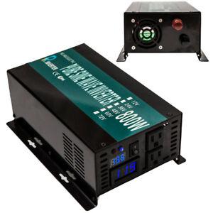 Pure Sine Wave Power Inverter 800W 12V 120V DC to AC Converter Solar Transformer