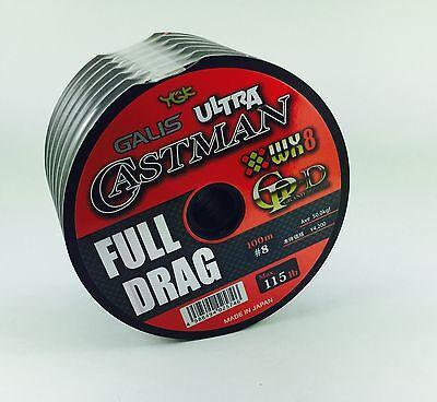 "YGK GALIS ULTRA CASTMAN WX8 ""FULL DRAG"" PE8/115lb/100m connected spools"
