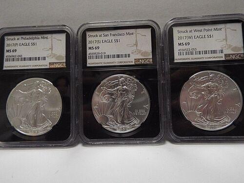 W P 2 Coin Set **2017** $1 American Silver Eagle NGC MS69 Black Core Label