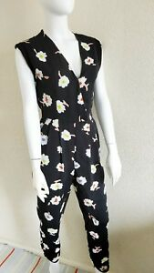 River Island Womens Floral V Neck Sleeveless Jumpsuit Size 8 Party