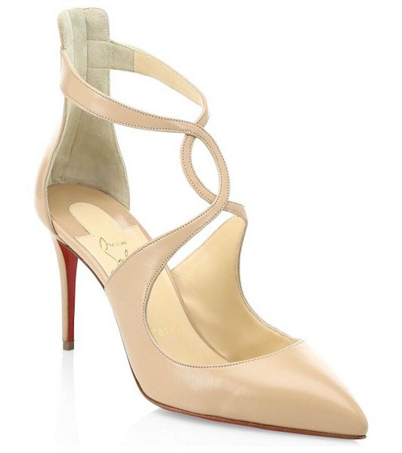 Christian Christian Christian Louboutin roses 85 Nude Kid Leather Criss Cross Sandal Heel Pump 38.5 bcf077