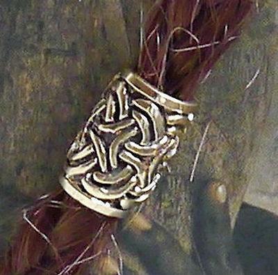 Bart Perle Bartperle Bartschmuck keltik Knotwork Mod1 Bronze Loch5,5mm + Gummis