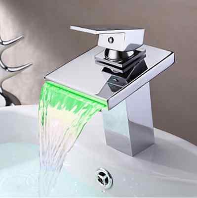 Elegant Waterfall Bathroom Basin LED Brass Sink Chrome Mixer Tap Faucet  fgu57