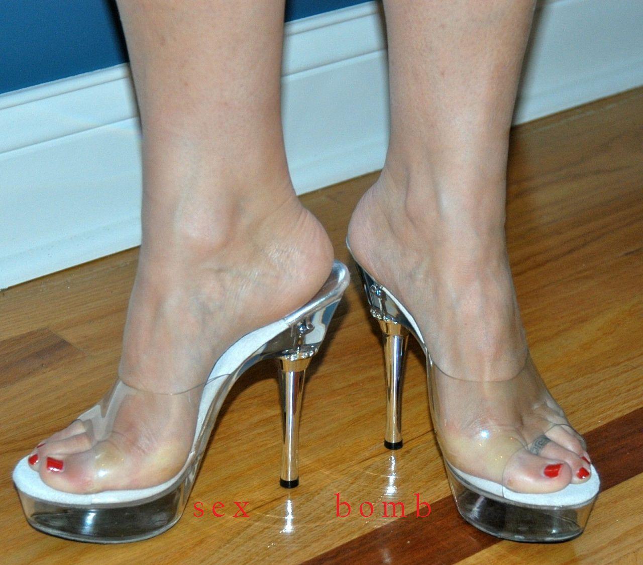 SEXY sabot sandali plateau strass trasparenti tacco 14 DAL 35 AL 43 GLAMOUR