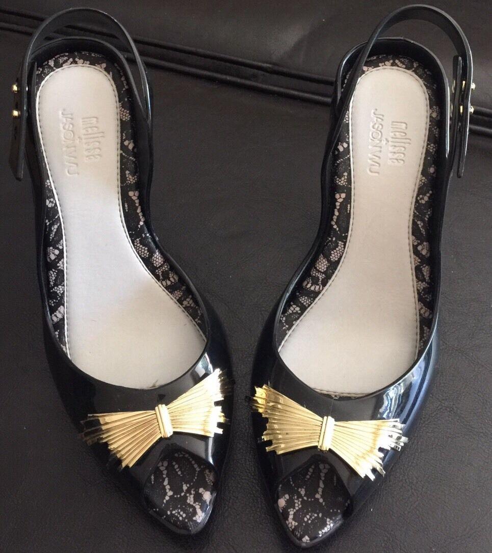 Mellissa + Jason Wu Black Jelly Scent Open Toe Heels Size 6