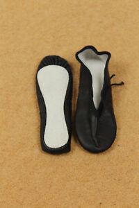Girl's Negro Cuero Completo Suela Zapatos De Ballet Talla 12 UK (Fit Reino Unido 11)