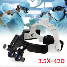 Dental Medical Surgical Magnifier 35x 420mm Binocular Loupes With Led Headlight