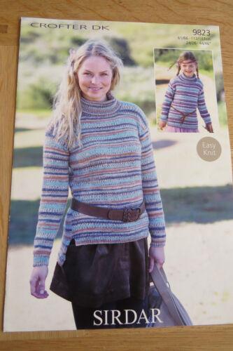 9823 Easy Knit Sirdar Crofter DK Polo Neck Sweaters Pattern No