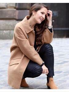 Rare Camel Tan Zara Iconic Jacket Oversized Celebrity Blazer Håndlavet Coat aqwfT6B
