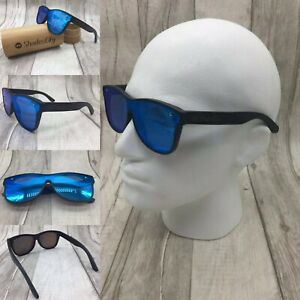 Men's Handcrafted Black Bamboo Frame Blue Mirror TAC Polarized Sunglasses