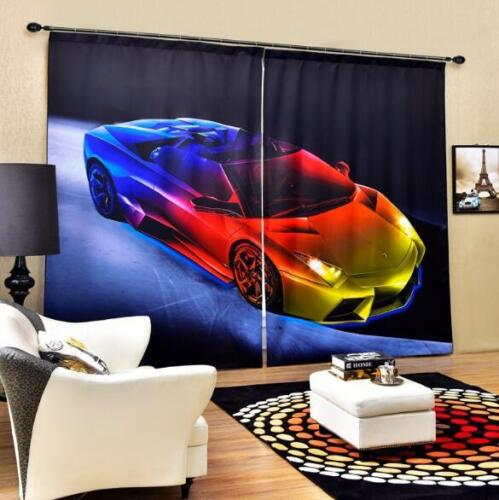 3D Cool Color Car Blockout Photo Curtain Printing Curtains Drapes Fabric Window