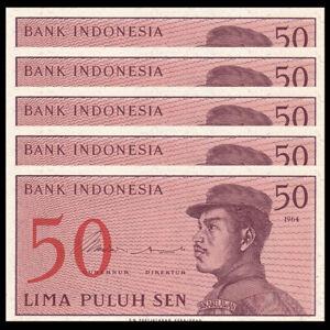 P-90 ~ P94,Uncirculated Set of 5Pcs Indonesia 1+5+10+25+50 Sen,1964