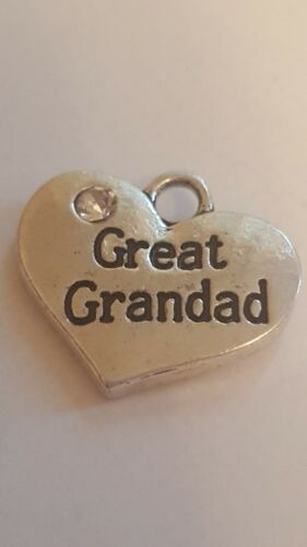 "1 OR 4 /""GREAT GRANDAD/"" TIBETAN SILVER RHINESTONE  HEART  FAMILY THEME CHARM"