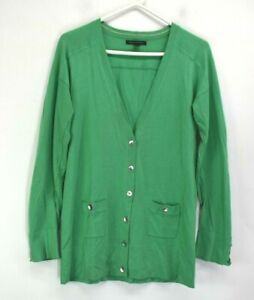 Banana-Republic-Women-039-s-M-Long-Sleeve-V-Neck-Wool-Blend-Cardigan-Green-Silver