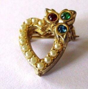 La Fourniture Broche Bijou Vintage Mini Coeur Couleur Or Cristal Couleur Petite Perle 3402