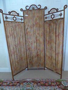Antique Victorian Vintage Oak Dressing Screen Room Divider Tri