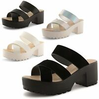 Womens Ladies Strappy Platform Chunky Mid Heel Summer Sandals Shoes Size UK