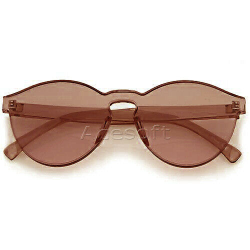 bf725aa6c66 UV One Piece PC Lens Rimless Ultra-Bold Fashion Specific Color Brown  Sunglasses