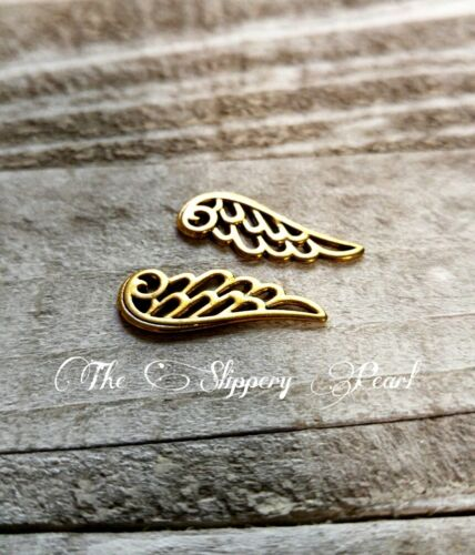 10 Angel Wing Charms Antique Gold Tone Filigree Wings Pendants 24mm