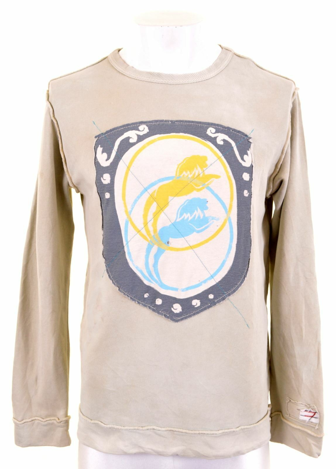 DIESEL Mens Sweatshirt Jumper Small Khaki Cotton BD07