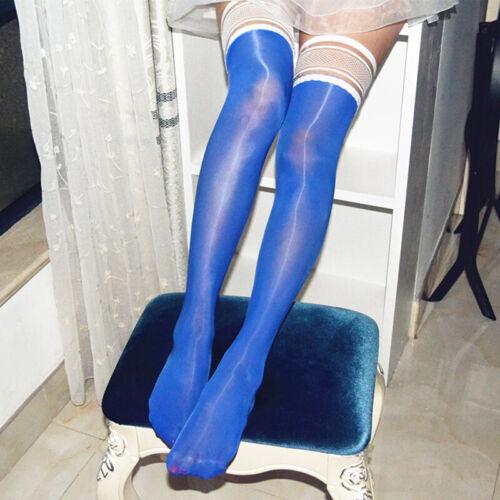 Oil Shiny High Glossy Hosiery Nylon Hold Up Socks Tights Thigh High Stockings KW