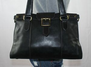 20dc6f98af FOSSIL Black Large Black Leather Shoulder Hobo Tote Satchel Slouch ...