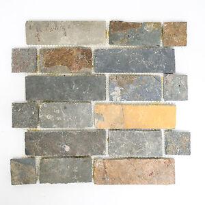 Das Bild Wird Geladen Fliesen Mosaik Naturstein Schiefer Braun Rost Boden  Bad