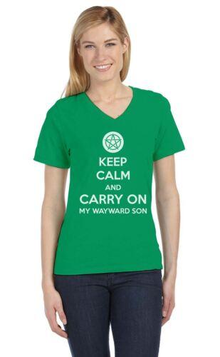 Keep Calm and Carry On My Wayward Son V-Neck Women T-Shirt Supernatural