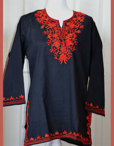 Boho Fashion Made in India Green with Red Embroidery Vintage Embroidered Tunic Kurta Cover Up Indian Kurti Cotton Tunic Top Handloom