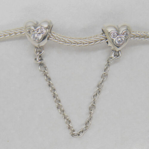 HEART OF MICKEY SAFETY CHAIN AUTHENTIC STERLING SILVER CHARM NEW
