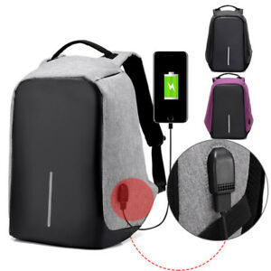 Sac à dos Backpack USB Charge Bandoulière Laptop École Voyage Antivol
